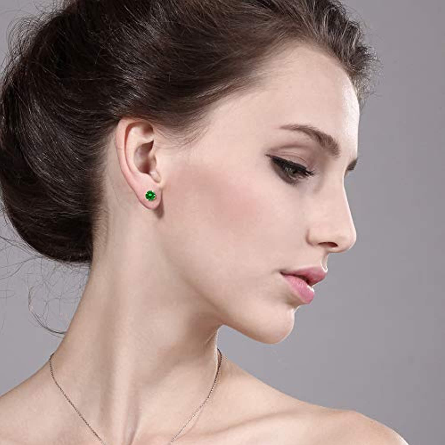 14K  Gold Green Emerald  Stud Earrings  For Women
