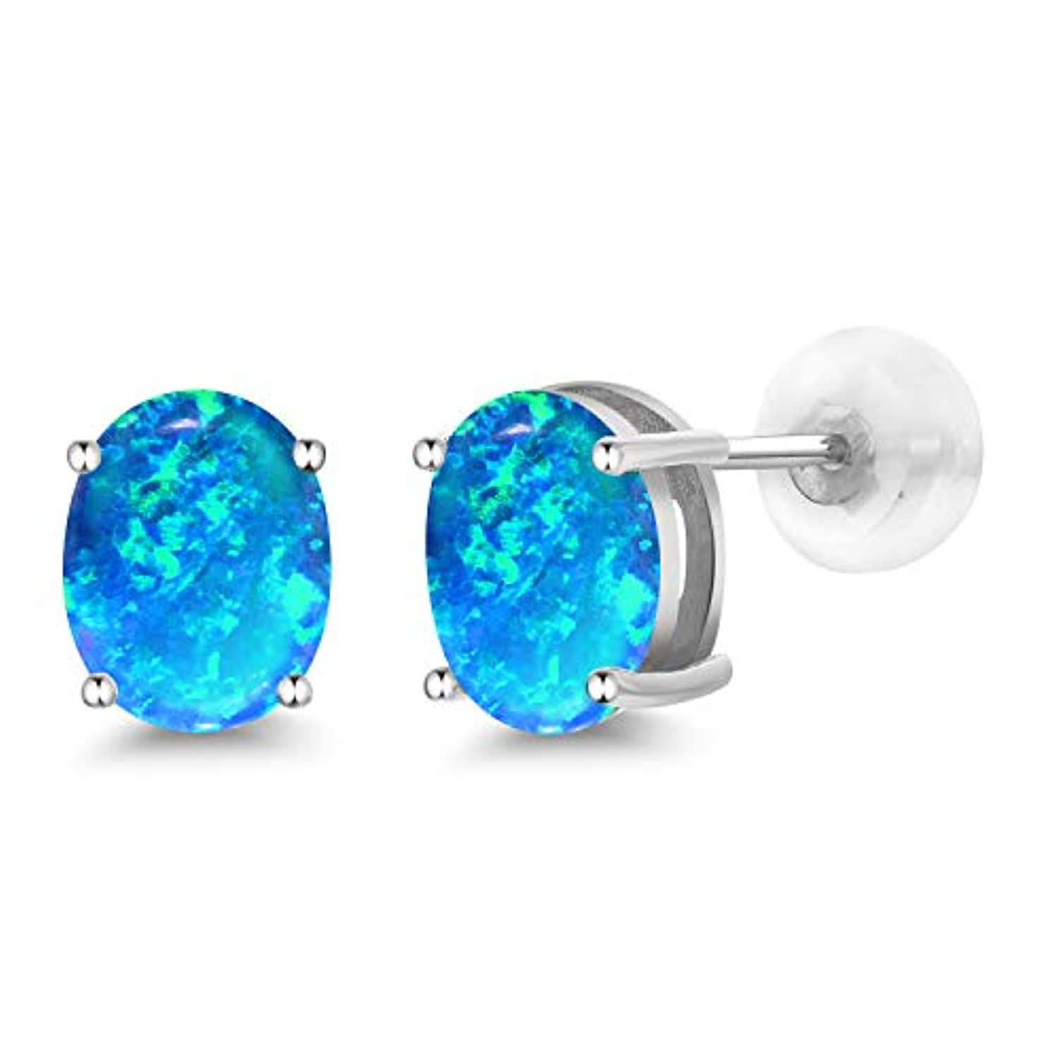 14K  Gold Oval Blue Opal Stud Earrings