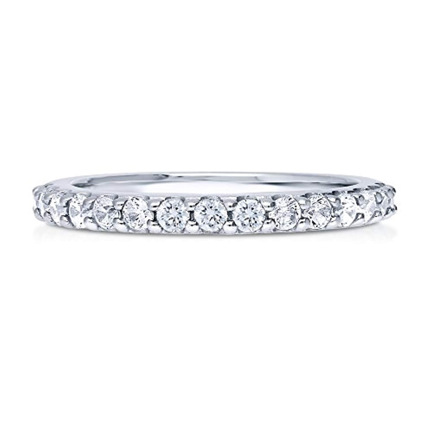 Rhodium Plated Sterling Silver Cubic Zirconia CZ Anniversary Wedding Half Eternity Band Ring
