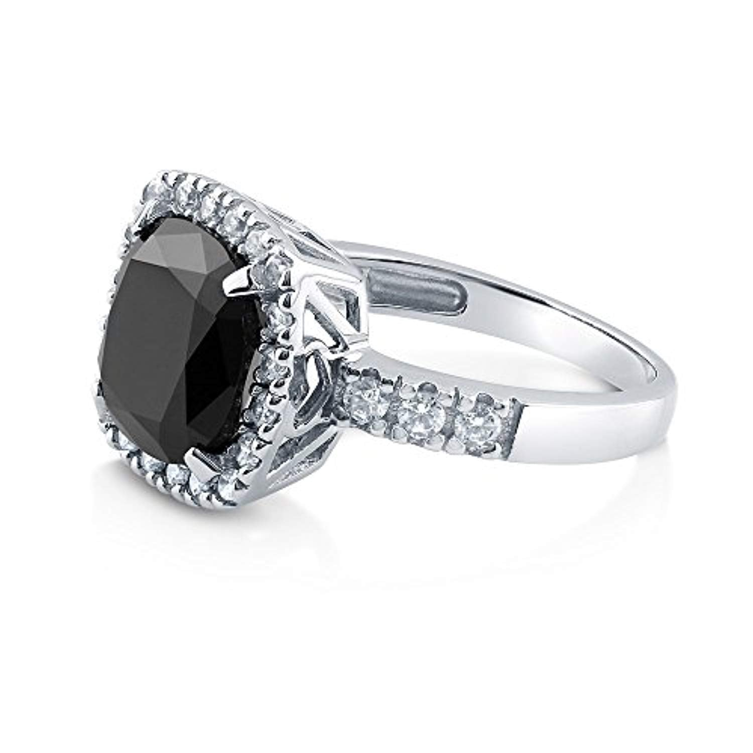 Rhodium Plated Sterling Silver Black Cushion Cut Cubic Zirconia CZ Statement Halo Cocktail Fashion Right Hand Ring