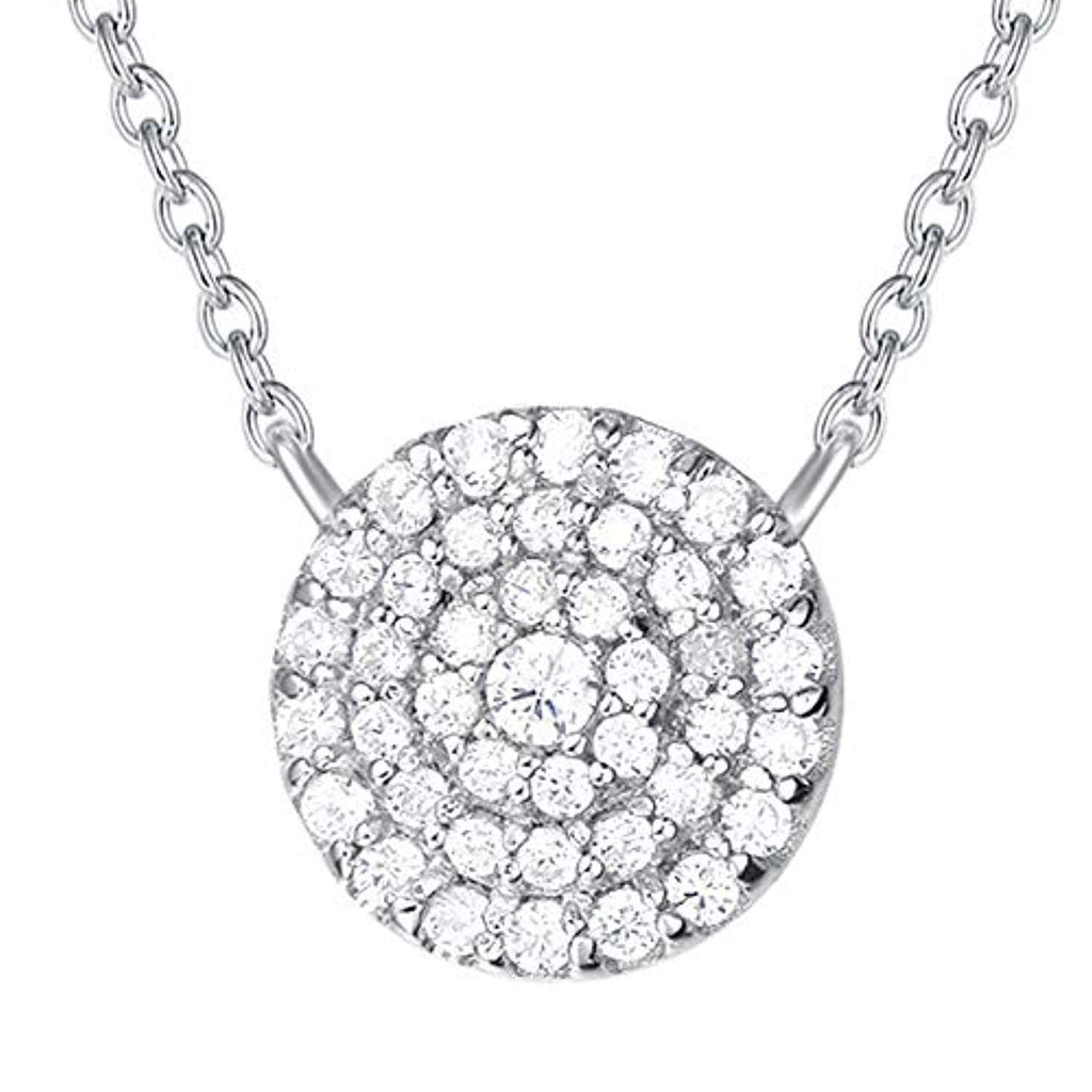 925 Sterling Silver 5A Cubic Zirconia CZ Open Eternity Circle Pave Round Disc Pendant Necklace Dainty Jewelry Gifts