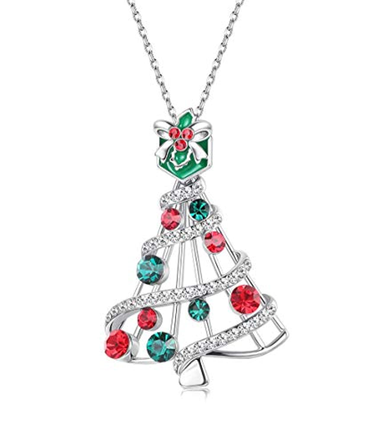 Silver Christmas Tree  Pendant Necklace