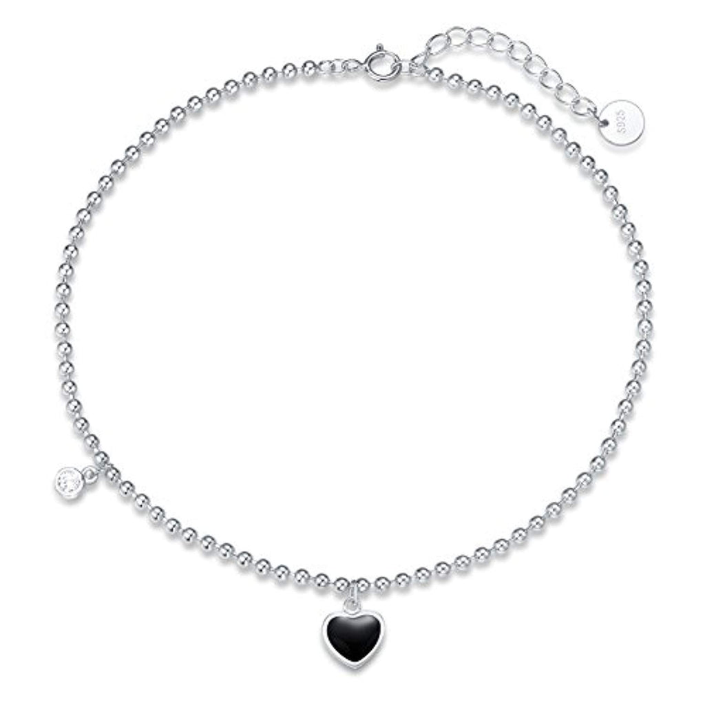 925 Sterling Silver Black Heart Bead Anklet Cubic Zirconia CZ Beach Ankle Bracelet Summer Jewelry Gifts for Women Adjustable Foot Chain