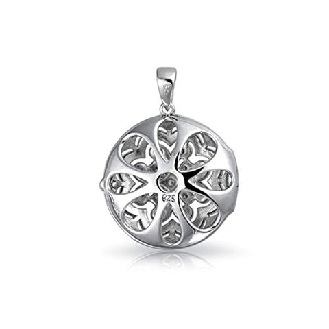Vintage Style Small Round Flower CZ Accent Heart Pendant Necklace Locket For Women For Teen 925 Sterling Silver