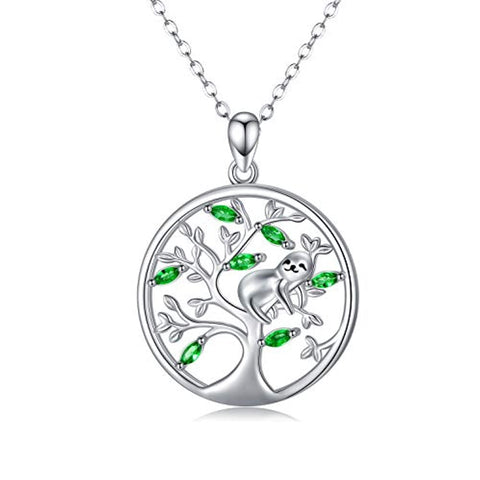 Silver Sloth Necklace Tree of Life Necklace