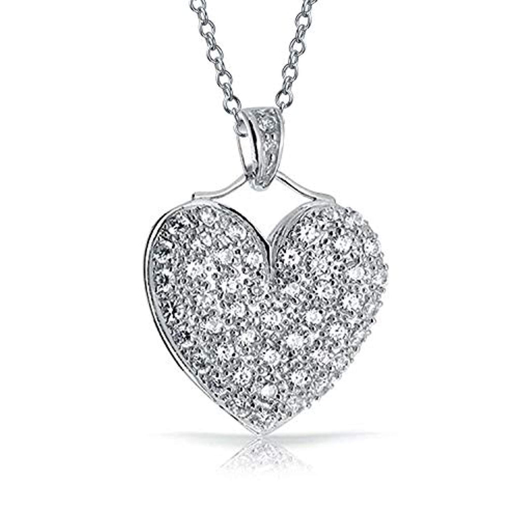 Large Pave Cubic Zirconia CZ Puff Heart Shape Pendant Necklace For Women Teen 925 Sterling Silver With Chain