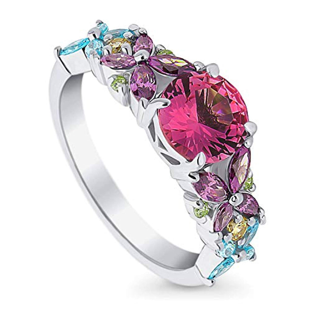 Rhodium Plated Sterling Silver Pink Cubic Zirconia CZ Flower Promise Ring