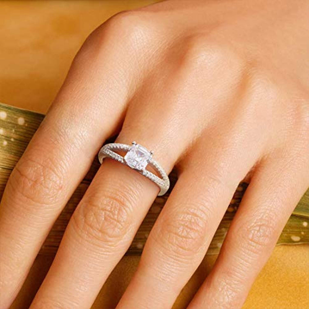 Wedding Engagement Promise Ring Rhodium Plated 925 Sterling Silver Princess Cut Solitaire Cubic Zirconia CZ Four Prongs Design Jewelry for Wife Lover Girlfriend