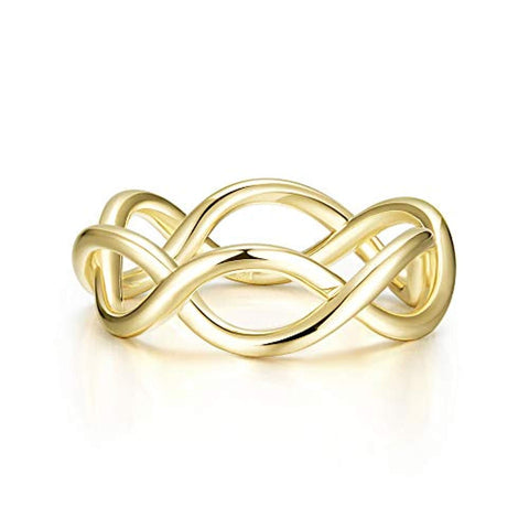Yellow Gold  plated  Infinity Ring Criss Cross Endless Love Ring Fashion Jewelry Gifts for Women Girls