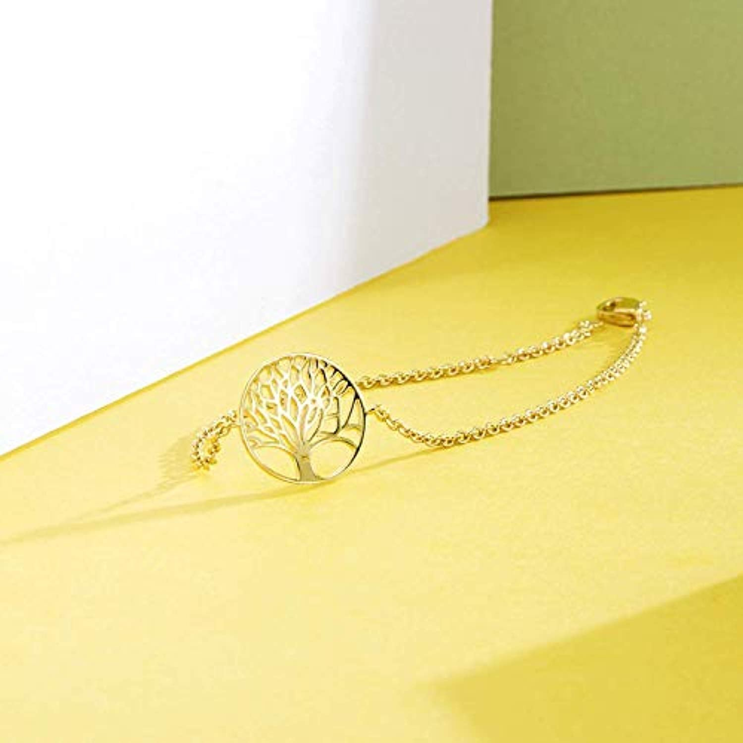 Yellow Gold Filled Tree of Life Minimalist Chain Bracelet Gifts for Women Mom Lover Family with Gorgeous Jewelry Box