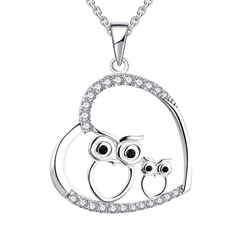 925 Sterling Silver Cubic Zirconia Heart Owl Pendant Necklace
