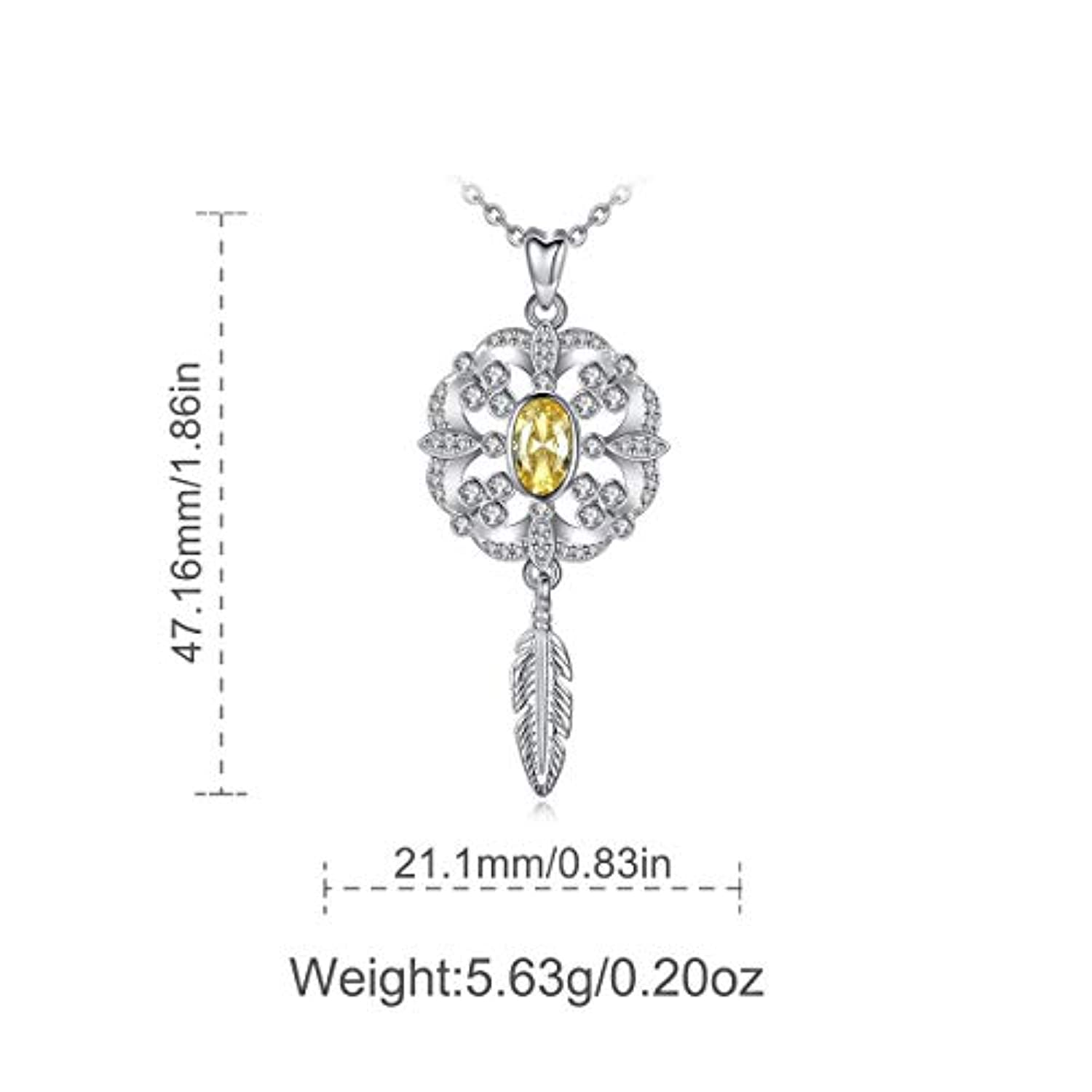 Sterling Silver Dream Catcher Flower Necklace for Women, Cubic Zirconia Feather Pendant Gifts for  Women