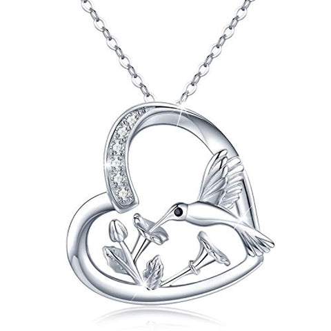 Silver Heart Hummingbird Pendant Necklace