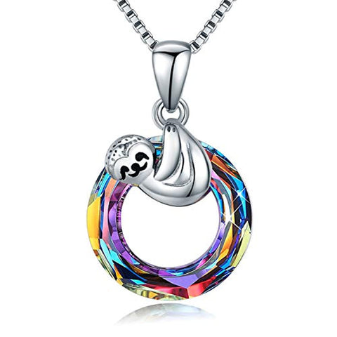 Silver Sloth Crystal Necklace Pendant