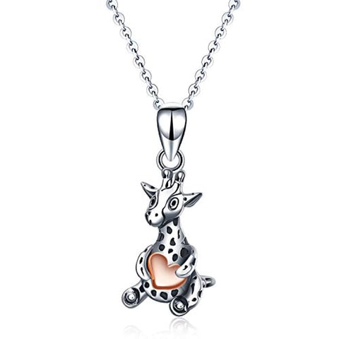 Silver Cute Giraffe Rose Gold Plated Heart Pendant Necklace