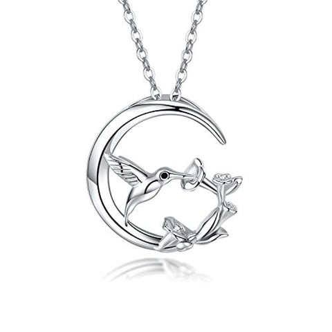 S925 Sterling Silver Moon Hummingbird Pendant Necklace with Flowers Bird Animal Jewelry Gift for Women