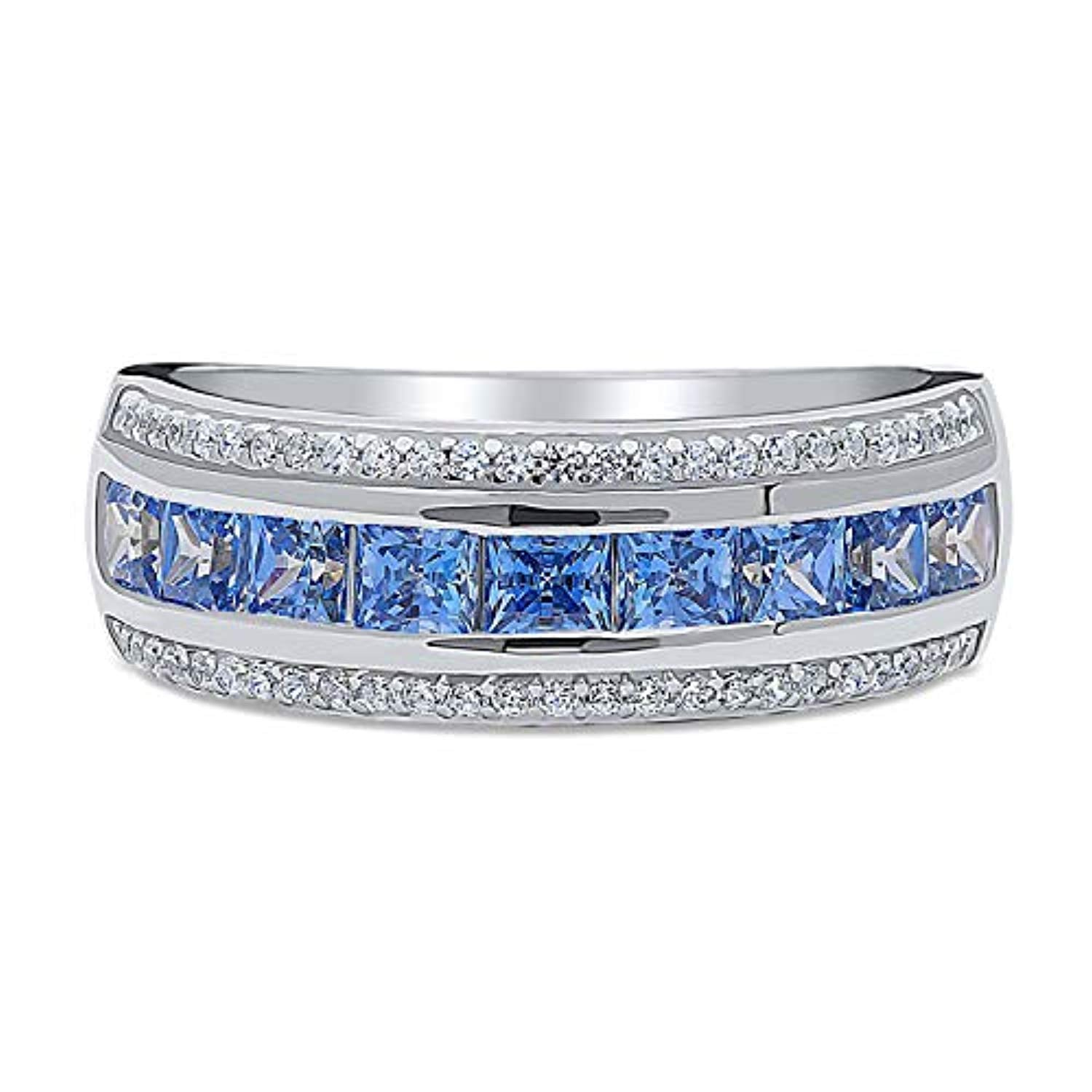 Rhodium Plated Sterling Silver Anniversary Wedding Half Eternity Band Ring Made with Swarovski Zirconia Blue Channel Set