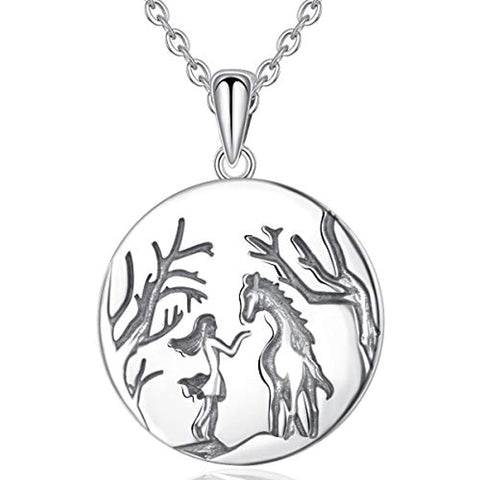 Sterling Silver Girls and Horse Necklace Lovely Animal Pendant Necklaces for Horse Lovers