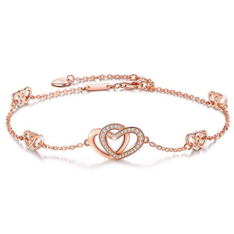 Silver Heart Love Anklets