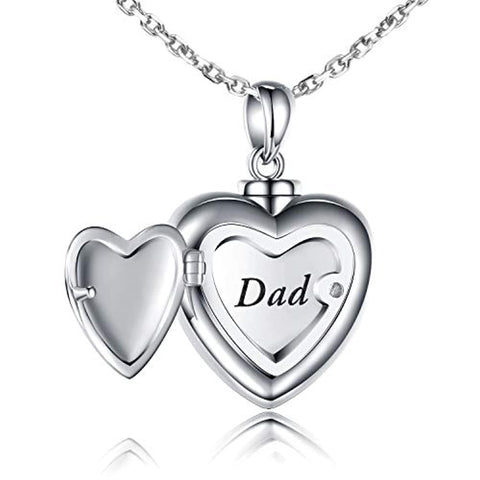 Urn Pendant Necklace Forever in My Heart Dad Cremation Jewelry