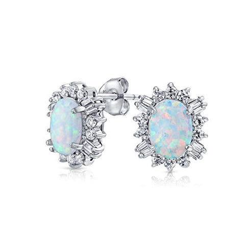 Vintage Style Oval White Created Opal Crown Halo CZ Stud Earrings For Women 925 Sterling Silver October Birthstone