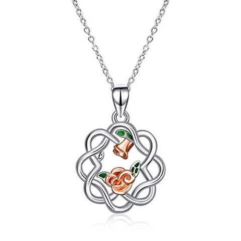Silver Celtic Knot Necklace Rose Flower Pendant