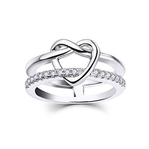 925 Sterling Silver Cletic Love Knot Heart Promise Ring