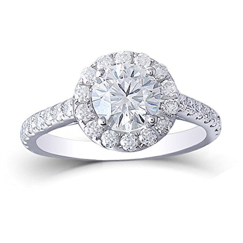 14K Gold Halo Moissanite Engagement Rings
