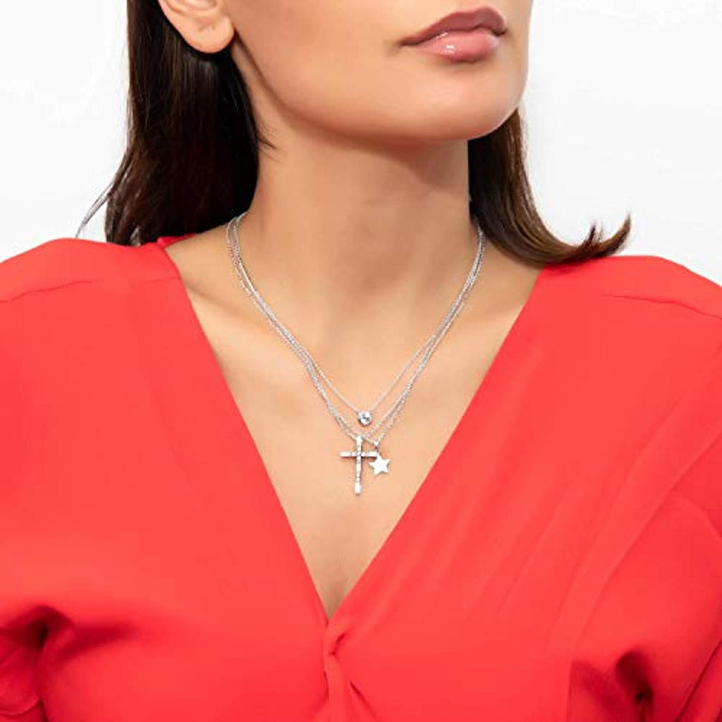 Rhodium Plated Sterling Silver Cubic Zirconia CZ Cross Fashion Pendant Necklace