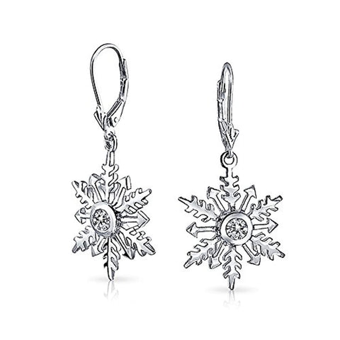 Holiday Christmas Snowflake Star Drop Leverback Earrings For Women For Teen 925 Sterling Silver