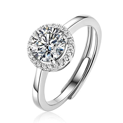 Silver  Moissanite Classic Halo  Wedding Engagement Ring