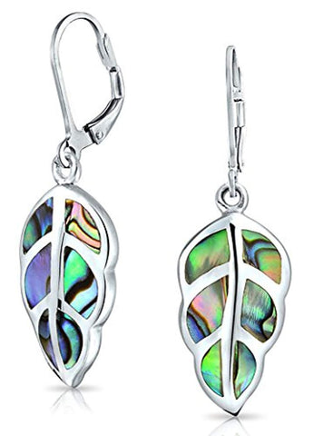 Rainbow Shell Nature Iridescent Leaf Drop Dangle Leverback Abalone Earrings For Women For Teen 925 Sterling Silver