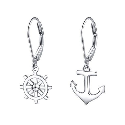 Nautical Compass Anchor Dangle Earrings