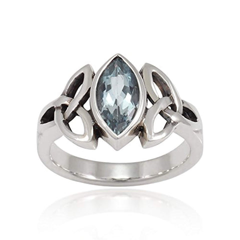 925 Sterling Silver Triquetra Celtic Knot 12mm Genuine Blue Topaz Band Ring - Nickel Free