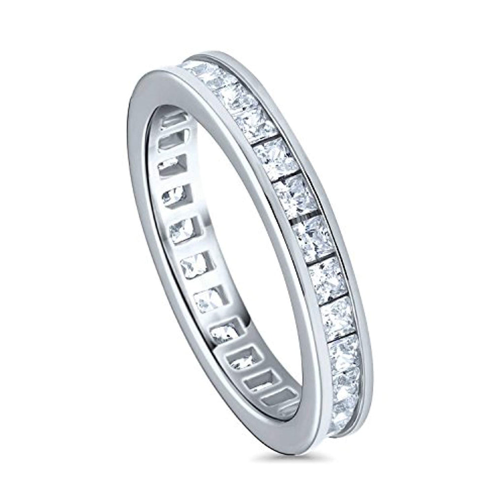 Rhodium Plated Sterling Silver Channel Set Princess Cut Cubic Zirconia CZ Anniversary Wedding Eternity Band Ring