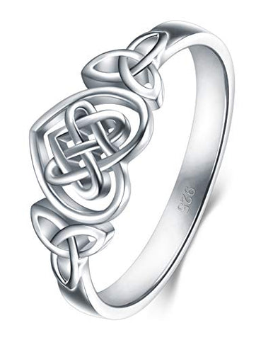 925 Sterling Silver Ring Celtic Knot Heart High Polish Tarnish Resistant Eternity Wedding Band Stackable Ring