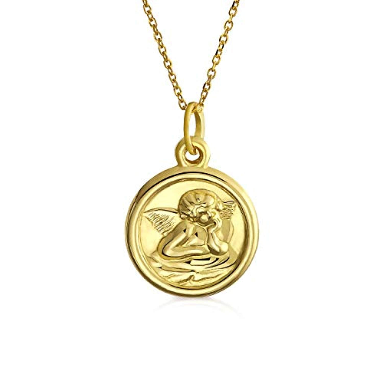 14K Yellow Real Gold Religious Medal Guardian Angel Pendant Necklace For Women For Teen With 14K Gold Chain
