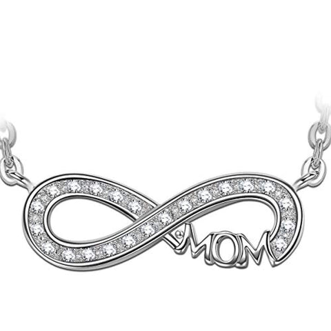 Silver Cubic Zirconia Infinity Pendant Necklace