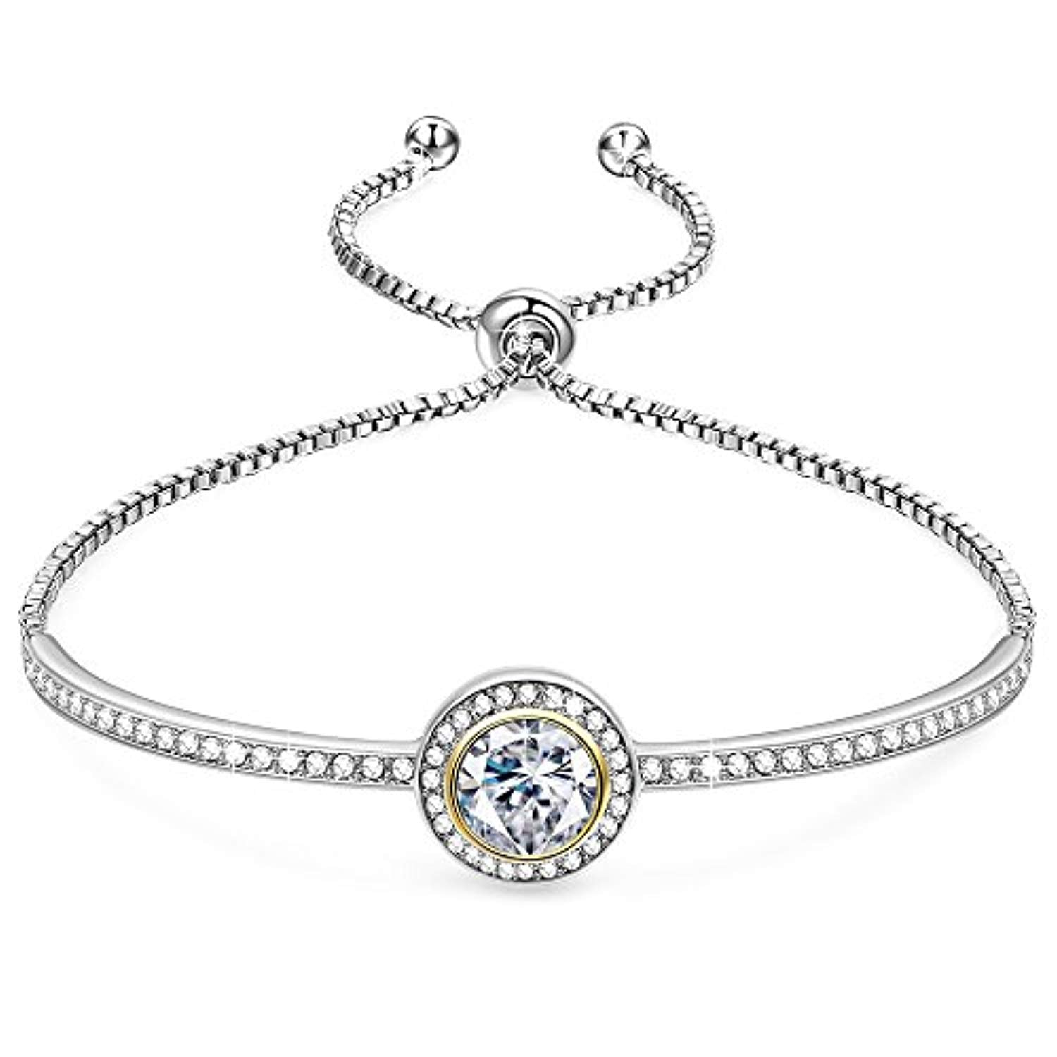 "Birthday Gifts""Endless Saturn""Classic Design Adjustable Women Bangle Bracelet Crystals from Swarovski, Jewelry for Girlfriend Wife Mom -a Luxury Gift Box Included"