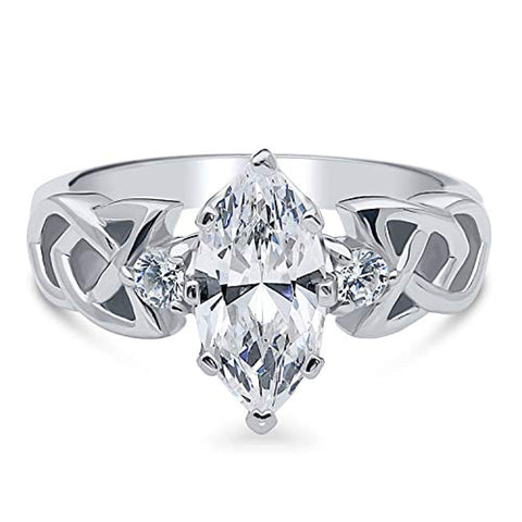Rhodium Plated Sterling Silver Marquise Cut Cubic Zirconia CZ Celtic Knot 3-Stone Promise Engagement Ring