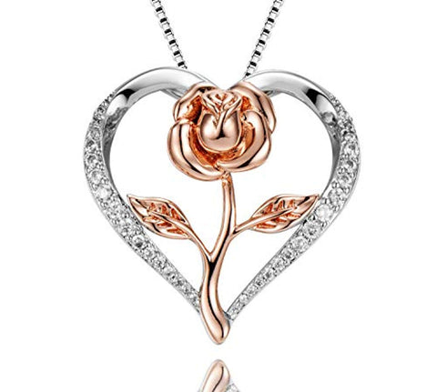Heart Rose Pendant Necklace