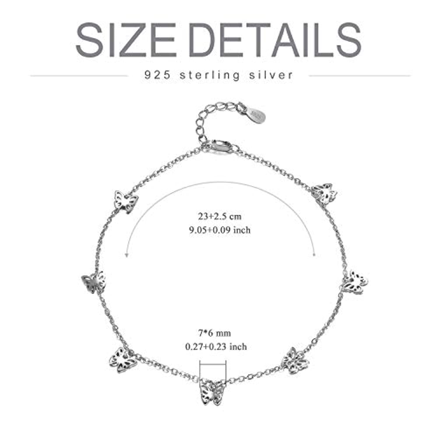 Sterling Silver Butterfly Anklet  Bracelet for Women  Silver Foot Jewelry
