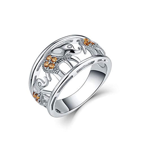925 Sterling Silver Cubic Zirconia Elephant Ring Animal Rings
