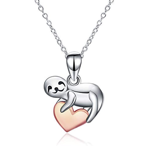 Silver Cute Sloth Rose Gold Plated Heart Pendant Necklace