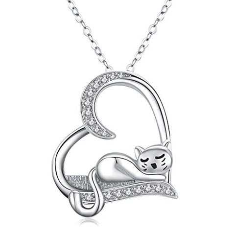 Cat Necklace Heart Necklace