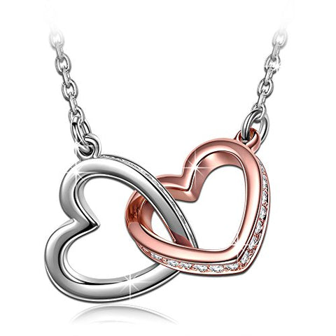 Two Tone 925 Sterling Silver Interlock Heart Pendant Necklace With 18inch Chain