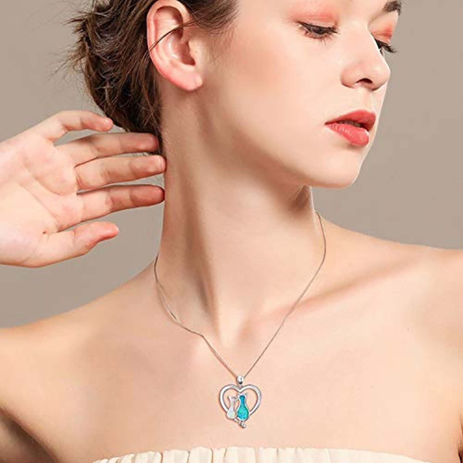Angel caller Cat Necklaces 925 Sterling Silver Jewelry Cute Double Two-Tone Cat Pendant Cubic Zirconia Necklace Rolo Chain,Eternal Love Heart Necklace for Women,Girls