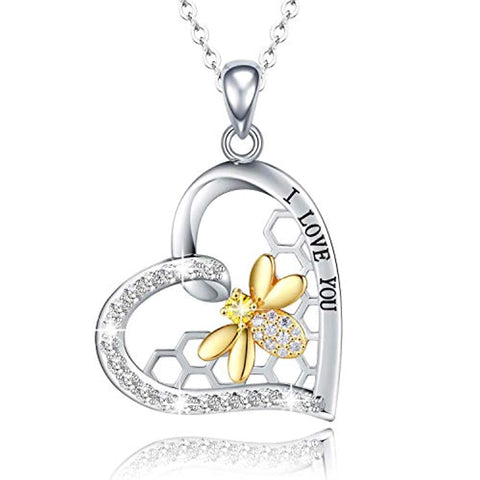 """I Love You"" Heart with Gold Bee Necklace"