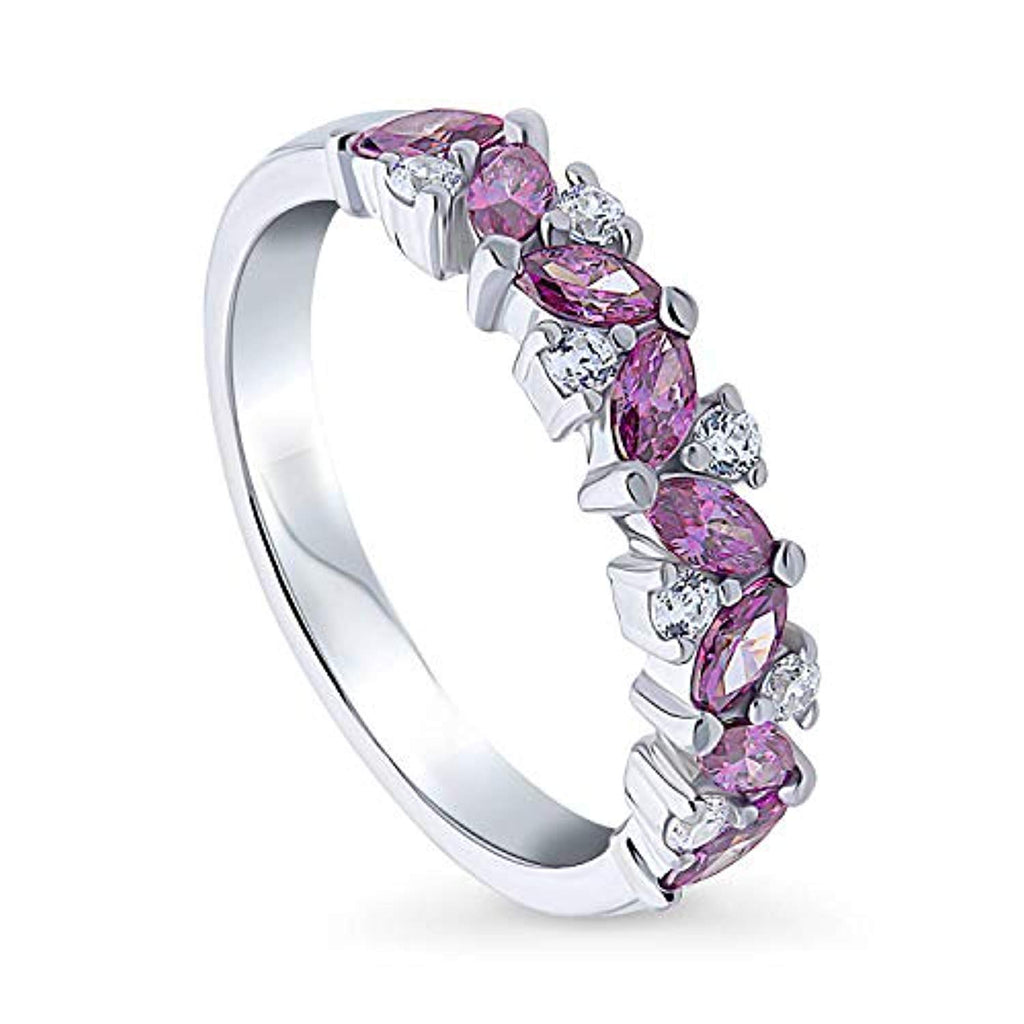 Rhodium Plated Sterling Silver Stackable Flower Cluster Anniversary Fashion Right Hand Band Made with Swarovski Zirconia Purple