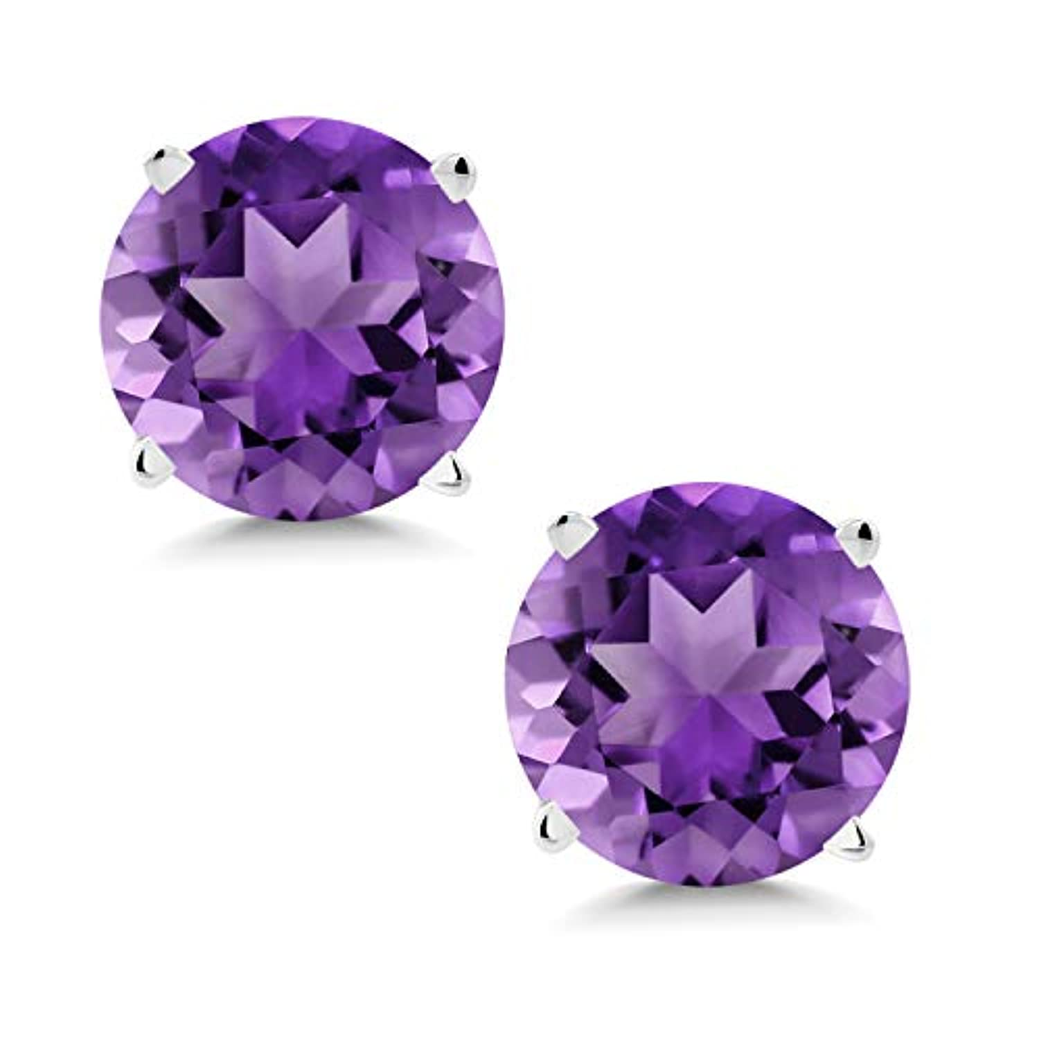 14K Gold Purple Amethyst Stud Earrings Gemstone Birthstone Round 6MM